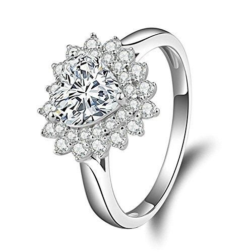 SonMo Ringe Silber 925 Ring Solitär Weiß Diamant Ringe Herz Zirkonia Trauringe Verlobungsring Hochzeit Ring Damenring Größe 60 (19.1)