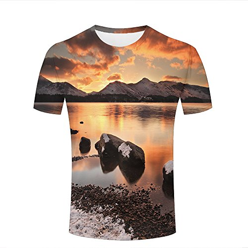 Herren Crewneck 3D Print T-Shirt Snow on The Shore and Mountain Creative Graphic Short Sleeve Tee Top Shirts XXXL