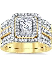Silvernshine Enhancer Ring Guard & Engagement Ring Set Yellow Gold Plated Clear Sim Diamonds