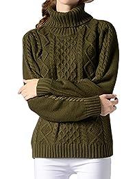 Casuale Alto Collo Maglione Donna Tops Lunghe Maniche Pullover Maglia 1wdnEq4