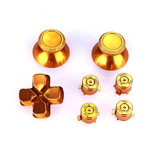 Jiayuane Llaves de Aluminio de Repuesto para el Controlador de PS4, Botones de Bala, Casquillos de Pulgar y Kits D-Pad para Playstation 4 DualShock 4, Oro