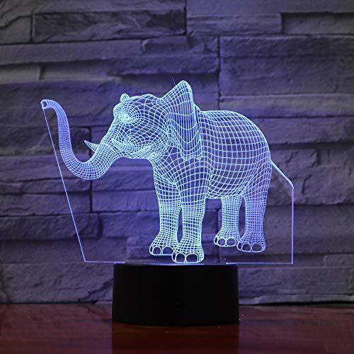 Mxlyr 3D Nachtlicht Lucky Elephant 7 Farben Ändern Nacht Lampe Led Tischleuchte Für Schlafzimmer Schlaflampe Wohnkultur Kunst Dekor Kinder Geschenk