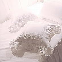 Royllent Cuscino Caso europeo pastorale stile tessile per la casa, lusso cotone ricamato pizzo volant federe, divano home decor tiro cuscino (05, 45×45cm)
