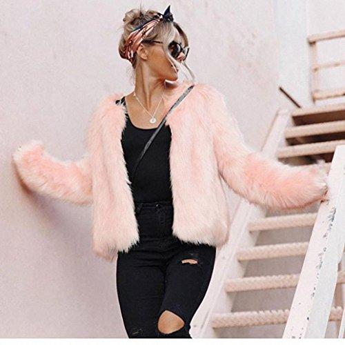 Fausse Fourrure Cardigan Femme,LMMVP Femme Fille Hiver Chaud Manteau dextérieur à Manches Longues Veste de Veste Pardessus Rose Rose