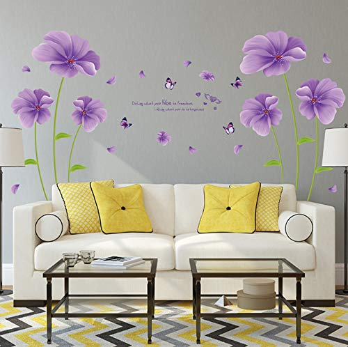 Wiwhy Lila Fantasie Blumen Schmetterling Blatt Pvc Wandaufkleber Für Kinderzimmer Wohnzimmer Badezimmer Dekor Wandtattoos Poster