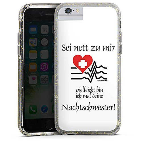 Apple iPhone 7 Bumper Hülle Bumper Case Glitzer Hülle Nachtschwester Nurse Krankenschwester Bumper Case Glitzer gold