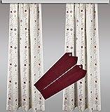 Elegantes Weihnachts-Gardinen-Set 4-teilig 2 Dekoschals inkl. 2 Raffhalter – modernes Design