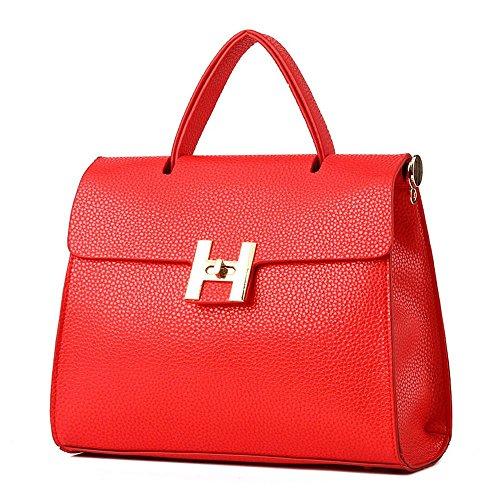 Koson-Man stile Vintage, da donna, con fibbia e tracolla, maniglia superiore Borsa Tote Bags, rosso (Rosso) - KMUKHB306