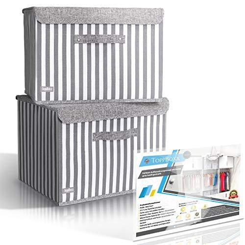 ToppBoxx 2er-Set Faltbare Aufbewahrungsboxen mit Deckel groß abwaschbar