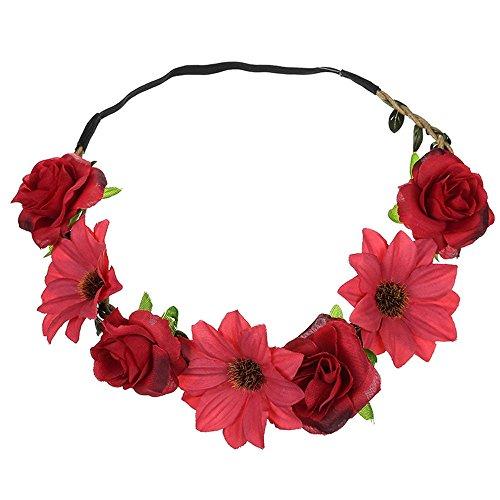 MIRRAY Boho Damen Blumen Blumen Festival Hochzeit Haarschmuck Girlande Haar Kopf Band Beach Party rot