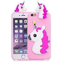 iPhone 6 Plus / iPhone 6S Plus Funda, Nuevo 3D de Dibujos Animados Caballo Unicornio Animal de Suave Silicona [Diseño Delgado] Shock-absorción Teléfono Caso - Rosa Roja