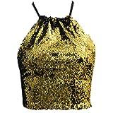 Yvelands Damen Tank Top Kurze Pailletten Weste Mode Camisole Ärmelloses T-Shirt(CN-M,Gold)