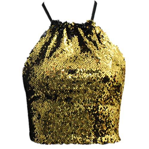 Amoyl Damen Crop Tops Sexy Pailletten Wilden Stil Aus Der Schulter Trägerlosen BH Teenager Mädchen Weste Dessous Shirt Karneval Kostüm (Gold, S)