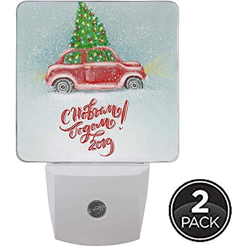 Baum Red Truck Nachtlicht Plug In Set von 2 Jungen Mädchen Babys, Winter Schneeflocke Schneemann Nachtlichter Auto