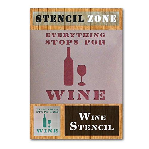 Alles Stop für Wein Vintages Shabby Chic-Mylar Malerei Wall Art Schablone (A5 Größe Stencil - XSmall) -