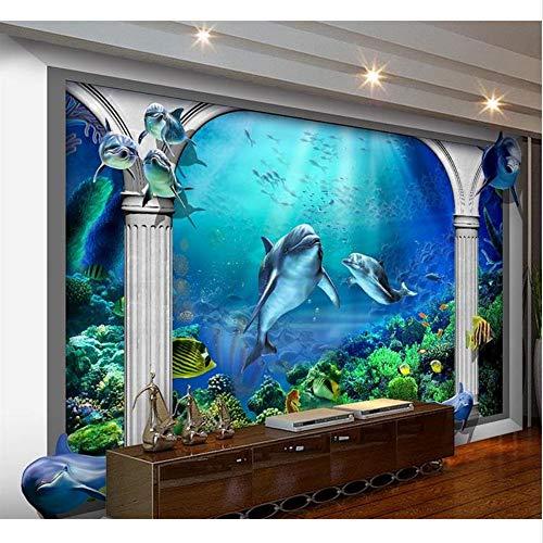 Guyuell 3D Wallpaper Benutzerdefinierte Vliestapeten Unterwasserwelt Ozean Aquarium Rom Post Painting Fototapete Für Wände 3D-120Cmx100Cm