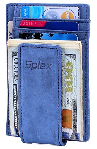 4176f65b25a0 Spiex Money Clip Leather RFID Blocking Magnetic Slim Front Pocket Wallet  for Men (Crazy Horse - Blue (new))