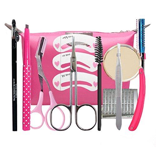 Aisi 11pcs Augenbrauen set Augenbrauenrasierer Augenbrauen Schablone Augenbrauen-Stift Bürstchen Kosmetiktasche Ausschnitt-Scheren Werkzeug-Set