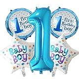 Ecosway, Deko-Set zum ersten Geburtstag, für Jungen und Mädchen, 5-teiliges Helium-Ballon-Set blau