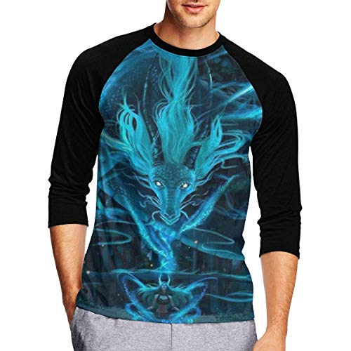 Henrnt Damen Bluse 3/4 Arm T-Shirt Bluse Top Blue Dragon and Girl Print T-Shirt Casual Crew Neck Tops Tee