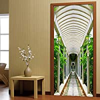 Canjerusof 3D Door Sticker Modern Long Corridor Mural Wallpaper Living Room Study Self-Adhesive Waterproof Wall Stickers 3 Decal For Home