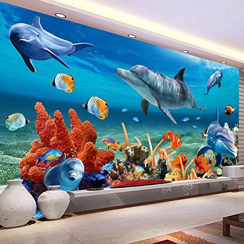 Creativo Mural 3D Wallpaper Niños Bajo Agua Delfín