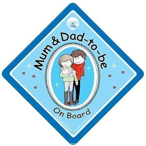 Letrero de Coche en Inglés Mum & Dad On Board, Estilo Pegatina de Parachoques, Letrero de Coche de Maternidad