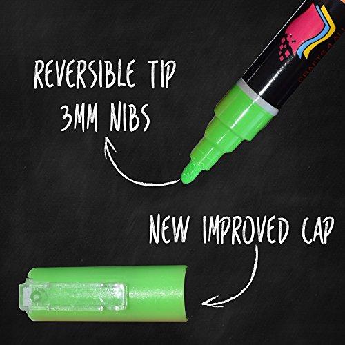 Liquido di Chalk marker Penne con inchiostro cancellabile e 3mm punte reversibili 8 pack colori al neon 32 libera le etichette della lavagna da artigianato 4 tutti