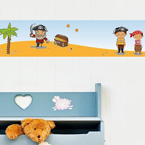 Wandkings Bordüre - Wähle ein Motiv - Piraten und Schatzsuche - 3x selbstklebende Wandbordüren je 150 cm - Gesamtlänge: 450 cm - Höhe: 12,5...
