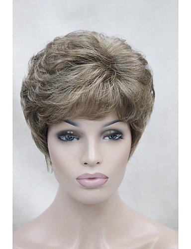 Praktische Mode Perücken europäisches Haar neue hellbraun mit Goldblond Highlight kurze lockige Frauen synthetische Perücke -