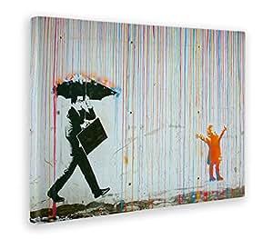 Giallo Bus 1246 Quadro Stampa Su Tela Canvas, Banksy, Pioggia Colori, 50 x 70 cm
