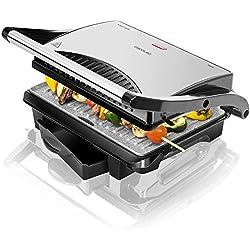 Cecotec Panini Grill Rock'n Grill 1000, gril électrique, plancha et appareil à sandwich avec revêtement en pierre RockStone avec boîtier ramasse-graisses de 1000 W de puissance