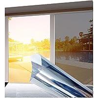 Privacy Window Film, One Way Silver Reflective Adhesive Window Film, Anti UV Heat Control Sun Blocker, Day Time Privacy Sticker Sun Block Window Film Static Cling Reflective Film (50cm x 8 metre)
