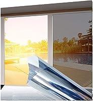 Privacy Window Film, One Way Silver Reflective Adhesive Window Film, Anti UV Heat Control Sun Blocker, Day Time Privacy Stic