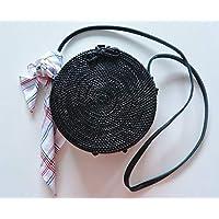 Bolso Redondo Rattan Negro