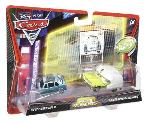 Mattel Disney Cars 2 Movie Moments - Juego de coches en miniatura (Profesor Z y Acer con casco)