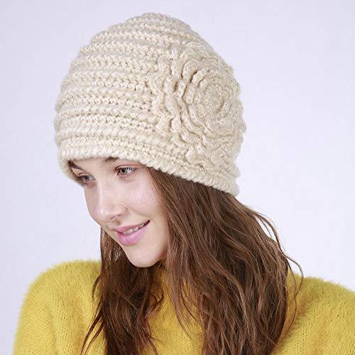 Zamoufm Handgemachte Herbst Winter gestrickt mit Blumen-Hut-Frauen-Kappen-Mützen-warmen Baggy Winter-Hüten für Mädchen Skullies Beanies-Beige