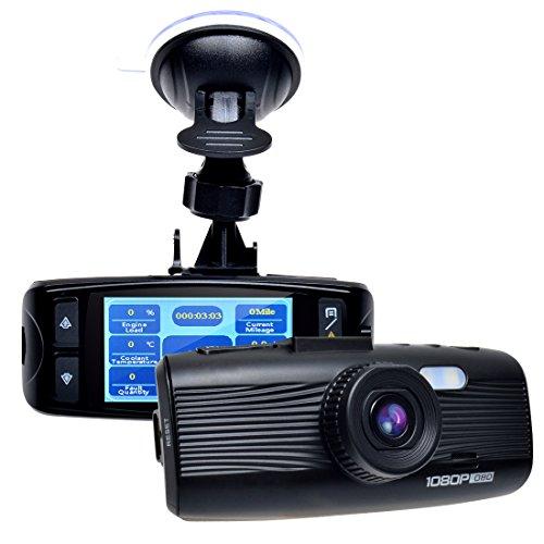 Toguard 1080P in truck Dash Cam Dashboard Camera utilizing OBD Diagnosis(Speed/RPM logger),H.264,2.7