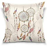 Kissenbezüge Bohemian Dream Catcher with Beads and Feathers Print Decorative Throw Pillowcase Cushion Pillow Cover 18