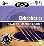 D'Addario EXP26-3D beschichtete Saiten für Akustikgitarre, Phosphorbronze, Custom Light, 11-52