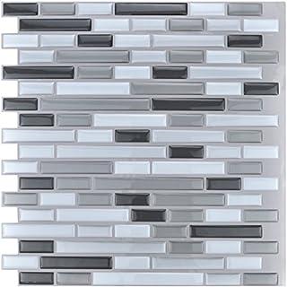Art3d 10-Piece Stick on Backsplash Tile, 12 X 12 Gray and White Tile by Art3d