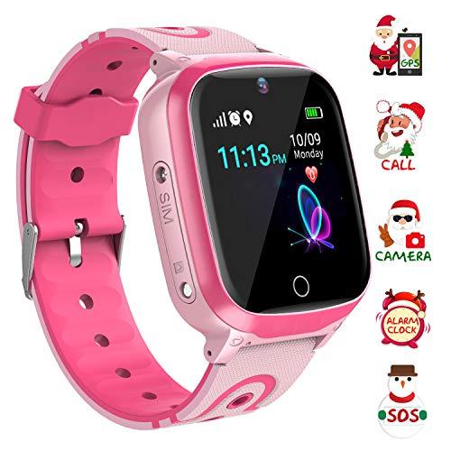 Smartwatch-Telefon für Kinder, GPS-Smartwatches, Zwei-Wege-Anruf-HD-Touchscreen-Smartwatch-Telefon mit Anruffernkamera SOS-Alarm-Sprachnachrichten für 3-12-jährige Jungen und Mädchen (Q-Rosa)