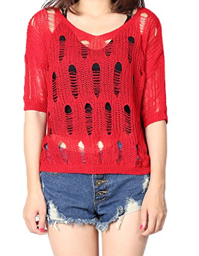 Smile YKK Pull Tricot Femme Pull-over Col V Manche Courte Sweat Transparent Veste Casaul Chic Rouge