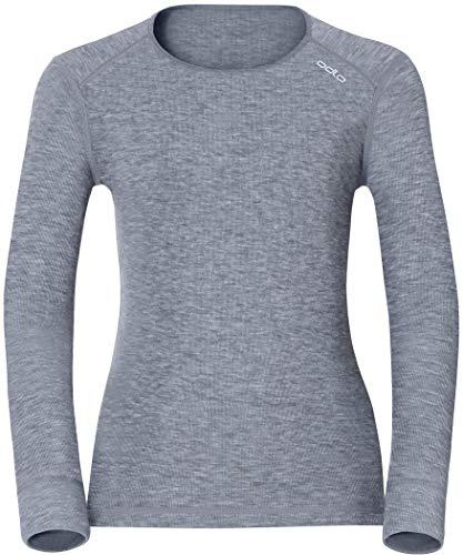 Odlo Damen Funktionsunterwäsche Langarm Crew Neck Warm,grau(grey melange),S