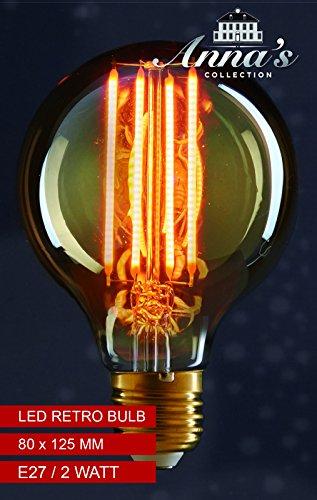 LED Retro Birne mit Glühfaden LED Leuchtmittel 80x120mm LED Leuchte Dekolampe Bulb E27 2Watt 170lm 1800K