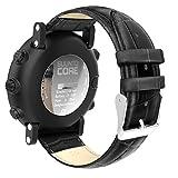 MoKo Armband für Suunto Core - Echt Leder Uhrenarmband Lederarmband Erstatzband Uhr Band Watchband mit Metallschließe für Suunto Core Samrtwatch, Schwarz