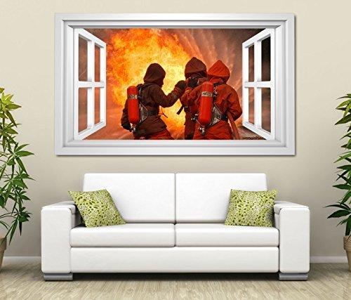 3D Wandtattoo Feuerwehr team Feuer Feuerwehrmann Männer Fenster selbstklebend Wandbild Tattoo Wand Aufkleber 11M2243, Wandbild Größe F:ca. 162cmx97cm - Feuerwehr-schlafzimmer-möbel