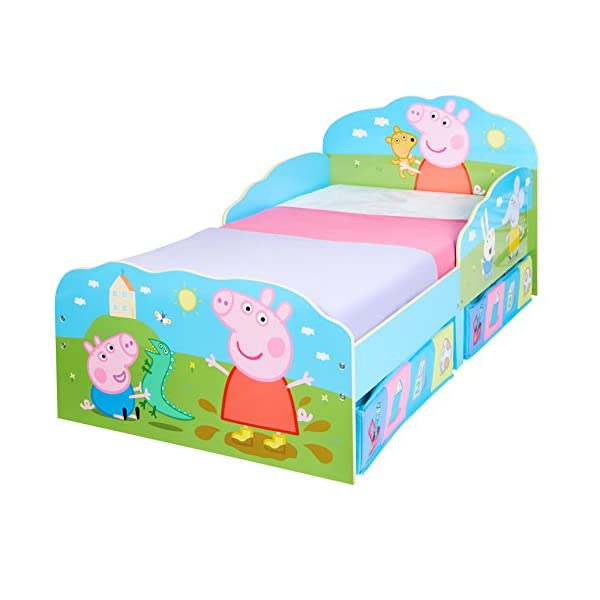 HelloHome Peppa Pig Toddler Bed with Underbed Storage, Wood, Multi, 142 x 77 x 63 cm  Perfect for transitioning your little one from cot to first big bed The perfect size for toddlers, low to the ground with protective side guards to keep your little one safe and snug Two handy underbed, fabric storage drawers 7