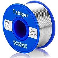 TABIGER - Alambre de soldadura sin plomo, 0,6 mm, núcleo de colofonia para soldadura eléctrica y bricolaje (50 g)