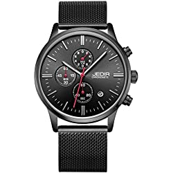 YPS Men Nail Shape Scale Three Functional Subdial Calendar Mesh Band Quartz Wristwatch WTH5343
